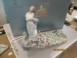 Lladro Large Sea Of Flowers With Girl-15x11--signed
