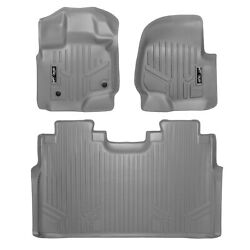 Smartliner 1st/2nd Row Floor Mats Grey For 2015-2021 Ford F-150 Crew Cab