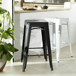 65cm Metal Cafe Bar Stool Stackable Backless Stools Dining Chairs T1