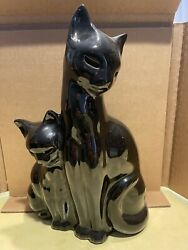 Vintage 1950s Mid Century Siamese Cat With Kitten Tv Lamp By Kron Rare All Black
