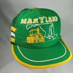Vintage Rare Maryland Tractor Farming Snapback Trucker Hat 3 Stripe Made In Usa