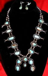 Vintage Navajo Natural Turquoise Ster Silver Squash Blossom Necklace-signed