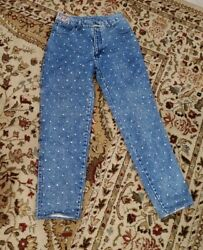 Vintage 80s Opal By Hot Property Allover Studded High Rise Jeans Size 6