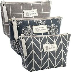 DOBMIT Canvas Cosmetic Bag 3PCS Multi Function Cosmetic Bag for Purse Large... $16.67