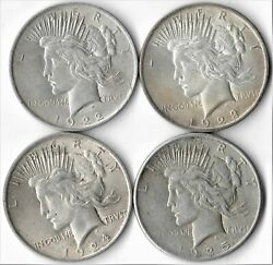 Lot Of 4 Peace Silver Dollars 1922-p 1923-p 1924-p 1925-p  Higher Grades