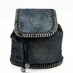 Auth Stella Mccartney Falabella Backpack Navy Non-leather/silvertone - H27363f