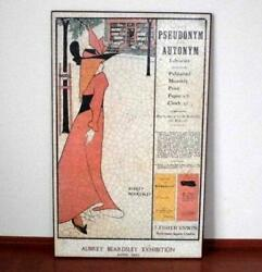 Antique Rare Aubrey Beersley Exhibition 1983 Lithograph Made Of Wood
