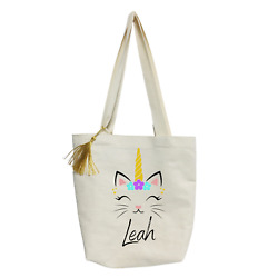 Personalized Cat Unicorn kids Tote bag Personalized Tote Bag Cat Lover Gifts $16.40