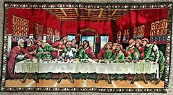 Vintage Tapestry Wall Hanging The Last Supper 20quot; x 37quot; Excellent Color FRANCE
