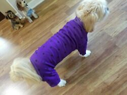 dog pajamasstretchy purpledotted Large for small breeds * read size details