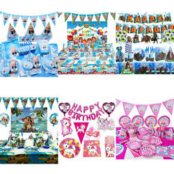 Children's Themed Birthday Decorations Tableware Cups Plates Napkins Banner Hats