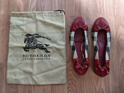 Womenand039s Ballerina Plaid Flat Shoes Red/cream With Shoe Bag Eu 36/us 5