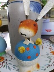 1940and039s Vintage Antique Rabbit / Bunny Bobble / Spring Neck Candy Container 8inch