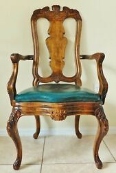 Antique/vtg Solid Wood Carved Leather Upholstered Dining Desk Accent Arm Chair