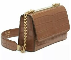 DKNY Cooper Leather Flap Crossbody Women#x27;s Leather Handbag Purse New with tags $98.99