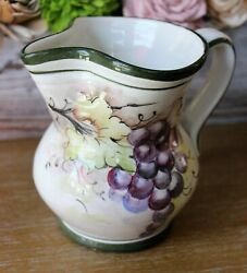 Vintage Italian Bassano Ceramic Pitcher hand painted and signed