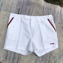 Vtg Adidas Shorts Mens 38 Large White Embroidered Trefoil Tennis Coach Track