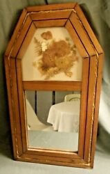 VINTAGE WOOD DECORATIVE WALL MIRROR DRIED FLOWERS 22 x 12quot;