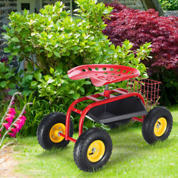 Costway Garden Rolling Cart Work Seat With Heavy Duty Tool Tray Gardening Red