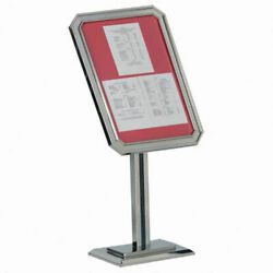 Aarco Single Pedestal Ornamental Sign And Poster Stand Chrome - 23w X 49h