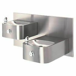 Barrier-free Hi-lo Wall Mounted 18g Ss Drinking Fountain With Back Panel