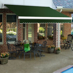 Awntech Retractable Awning Manual 10and039w X 8and039d X 10h Forest Green
