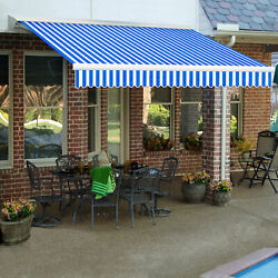 Awntech Retractable Awning Right Motor 16and039w X 10and039d X 10h Blue/white