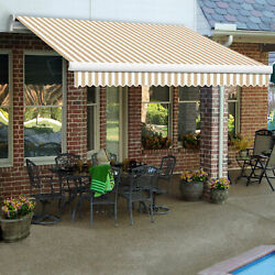 Awntech Retractable Awning Manual 10and039w X 8and039d X 10h Linen/white
