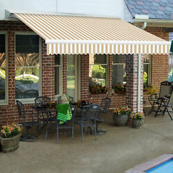 Awntech Retractable Awning Right Motor 14and039w X 10and039d X 10h Linen/white
