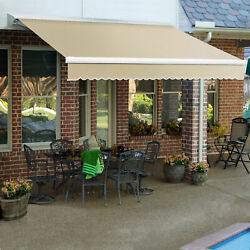 Awntech Retractable Awning Right Motor 14and039w X 10and039d X 10h Linen