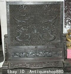 27and039and039 Antique Chinese Excellent Rosewood Wood Fengshui Dragon Word Folding Screen