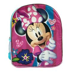 Disney Minnie Mouse Pink 15quot; School Backpack for Girls Kids Cartoon Book Bag $21.99
