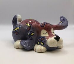 Whimsiclay By Amy Lacombe Puppy Dog Figurine #13802 W Butterflies 2007