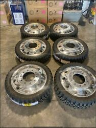 6 New 24new Dually Wheels Classic Alcoa Style 10 Lug Rims With Caps Adapters