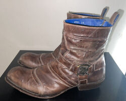 Mark Nason Rock Dragon Menand039s Brown Leather Ankle Boots Sz 11