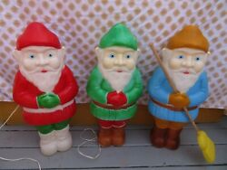 Vintage Christmas Lighted Blow Mold Set Of 3 Elves Gnomes Red/green/blue