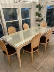 Beautiful Travertine Marble Dining Table And 6 And039scallopand039 Venetian Chairs
