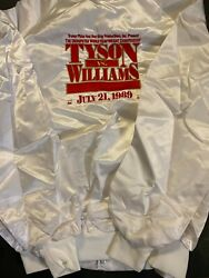 1989 Mike Tyson Vs Carl Williams New White Embossed Satin Jacket Large