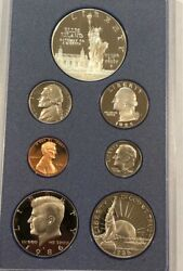 1986-s Us Prestige Proof Set Coins In Original Lens. W/ Statue Of Liberty Coins