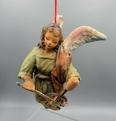 Cartapesta Angel Ornament Paper Mache Playing Violin Made In Italy Vintage