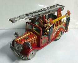 Fire Engine Friction Toy With Siren Tin Miniature Car Minicar S.s.s. Made In Jp