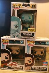 Funko Pop Aquaman 87 Hot Topic Excl W/ 243 And Arthur Curry 243 Fall Conv All 3