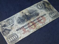 1856 The Merchants And Planters Bank In The State Of Georgia 100 Bill