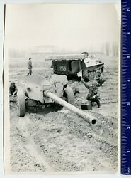 Military Photo Ussr Army Cannon Mt-12 Rapier,tractor МТ-ЛБ,helmet - Rare