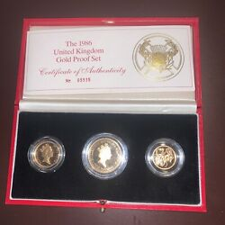1986 United Kingdom Gold Proof Collection 3 Gold Coins Superb Proof Cameo Nice