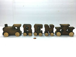 Vintage Rustic Handmade 4 Piece Wooden Train Set Educable Natural Wood