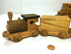 Vintage Rustic Handmade 7 Pieces Wooden Toy Train Set Educable Natural Wood