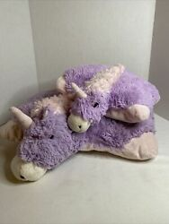 Lot Of 2 Small And Large Pillow Pets Adorable Unicorn Purple And Pink Plush Toys