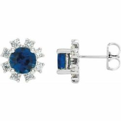 Saphir Bleu And 1/4 Cts Diamant Earrings In 14k Or Blanc