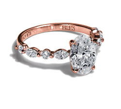 12450 1.53 Carat Oval Diamond Engagement Ring Rose Gold Womens Si2 50728673